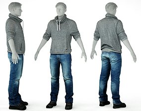 Male Casual Outfit 29 Pull Jeans Footwear 3D model