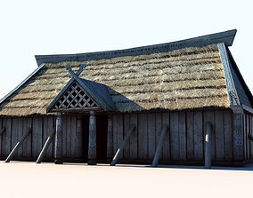 3D asset Viking House 3 longhouse
