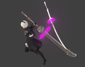 3D model Cute 2B Nier Automata rigged Animated Gameready