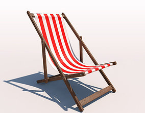 3D model Deck Chair - Red