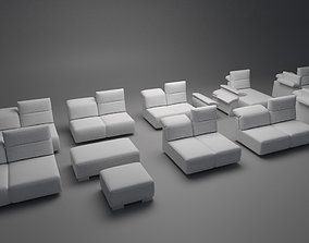 games Sofa Assembly Kit Low-poly 3D model low-poly