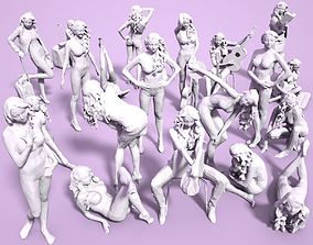 21 Girl Statues Faceted Look 3D model realtime
