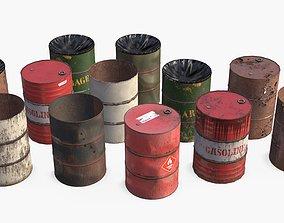 3D model PBR Metallic Barrels Assets Collection