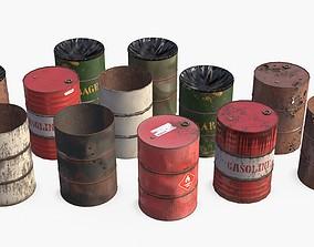3D model Metallic Barrels Assets Collection