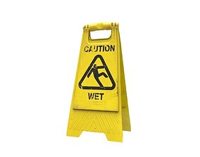 Caution sign 3D asset