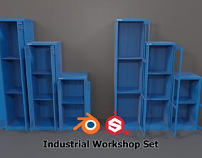 Industrial Workshop Narrow Bumped Cabinets 3D asset 1