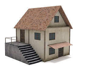 3D asset realtime Medieval House europe