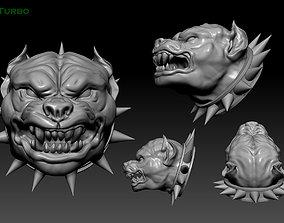 angrydog head Pitbull dog angry pendant 3D print model