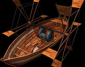 3D Leonardo boat with shovels