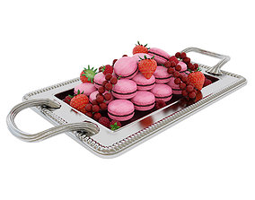 confectionery Macaroons with berries 3D