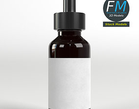 Dropper bottle with liquid and label 3D