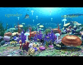3D model Submarine world animation scene