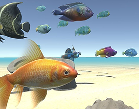 3D asset animated Sea fish - underwater world