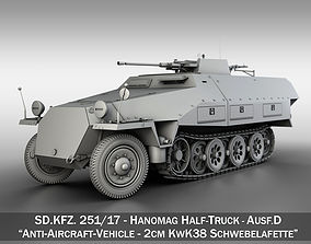 3D model SDKFZ 251 Ausf D - Anti-Aircraft Vehicle