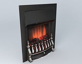 Brass Flame Effect Electric Fan Fire 3D model