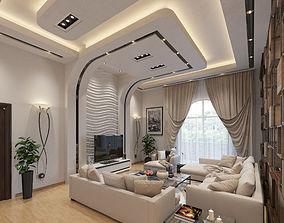Open Living Room Kitchen Space 3D model kitchen