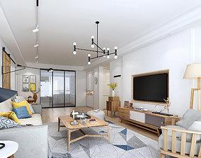 Apartment 3D model sofa kitchen
