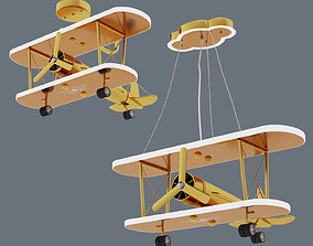 3D Gold painted chandelier airplane