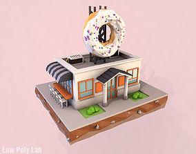 3D model Cartoon Donut City Cafe
