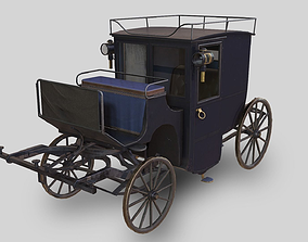 3D model Lowpoly PBR Brougham Carriage