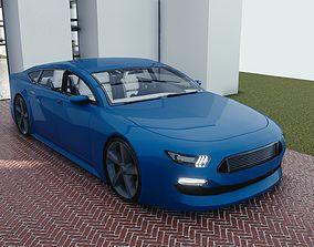 BLENDER EEVEE Brandless Mid Size 4 door coupe 3D asset