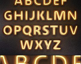Light modules Set 09 Neon Alphabet 3D model