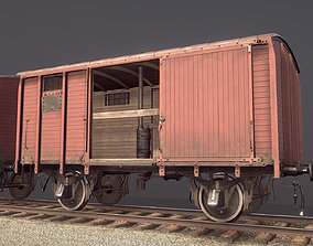 Railway Covered Goods Wagon 18T Vr1 Default Red 3D model
