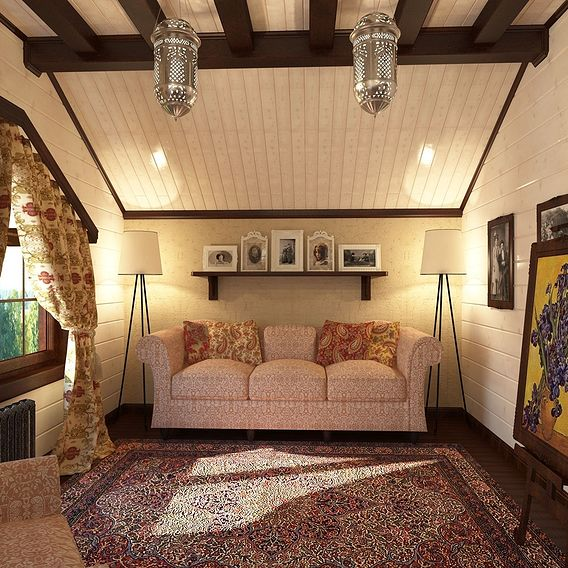 The interior of the guest room in a wooden cottage