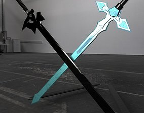 3D asset Swords - Dark Repulser and Elucidator - Sword Art