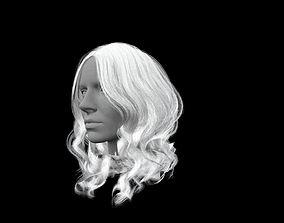 3D asset Long white hair