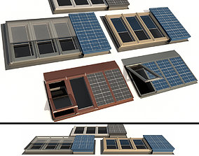 3D Roof windows Skylights with solar panels metal