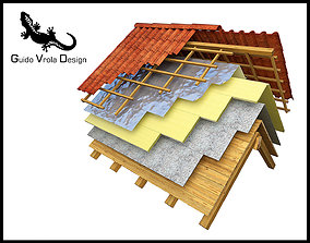 Insulated roof exploded view 3D model