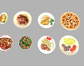8 low poly meals pack 3D model