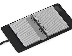 diary 3D model Leather Black Organizer Open