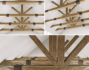 3D Wooden ceiling beams for barn