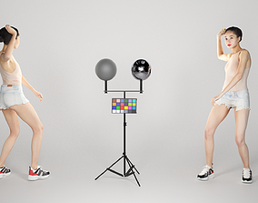 Pretty woman in shorts playing volleyball 226 3D model