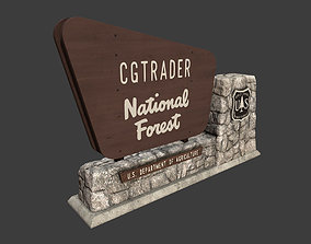 3D asset National Forest Stone Sign