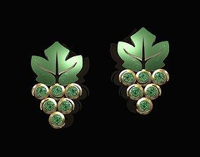 3D print model grapes earrings with gems