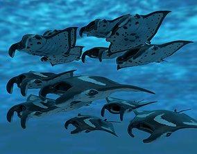 3D model Manta Stingray 6 Animations Unity and UE4