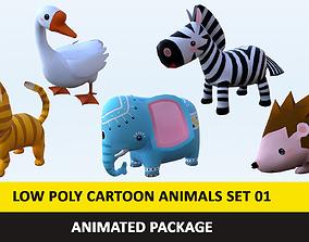 3D asset Cartoon Cute Animals Low Poly Pack - 01 AR VR 1