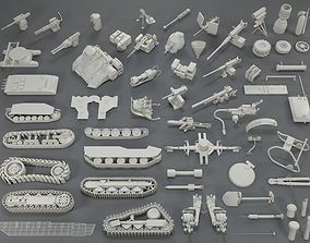 Tank Parts - 60 pieces - collection-1 3D asset