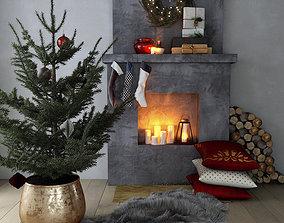 3D model Christmas fireplace decor