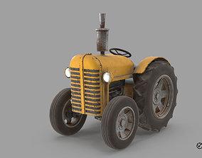 3D model animated Cartoon Tractor