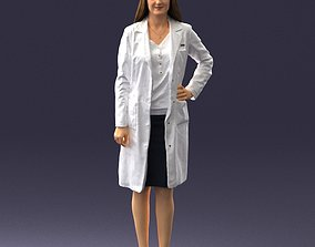 Woman doctor in a white coat 0259 3D printable model
