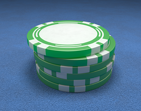 Casino Chip Green Poker Chip 3D model