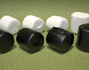 3D model Wrapped Hay Bales