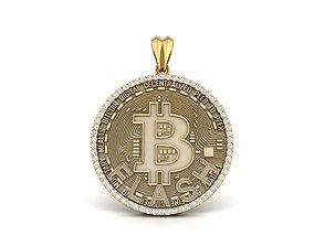 Diamond Bitcoin Pendant diamond 3D print model