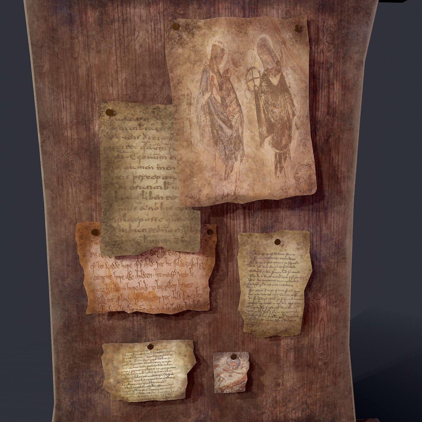 Fantasy Medieval Notice Board 3D
