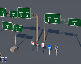 realtime lowpoly highway sign billboard collection pack 3d