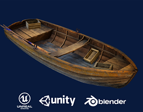 3D model game-ready PBR Wooden Boat
